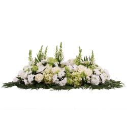 raquette de fleurs blanches de deuil