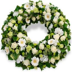 couronne de fleurs de deuil blanches