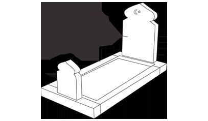 graphique avec les différentes parties d'une tombe musulmane (soubassement, stèle)