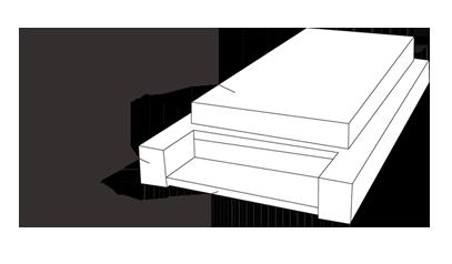 modèle de tombe épuré avec semelle, soubassement, tombale