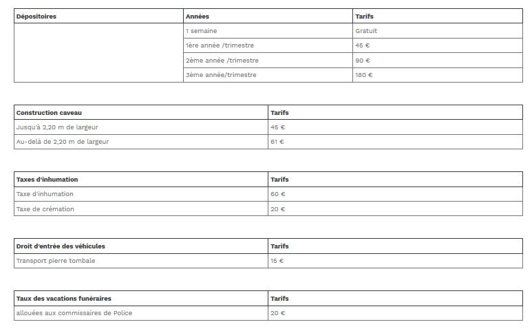 taxe inhumation 45€ - crémation 20€